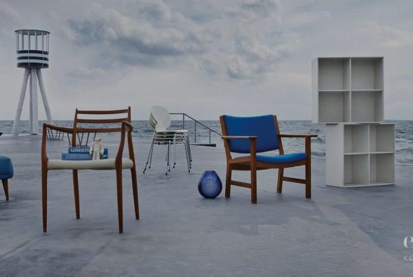 Designmøbler på strandpromenade